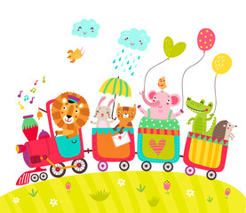 Cheerful train with cute animals