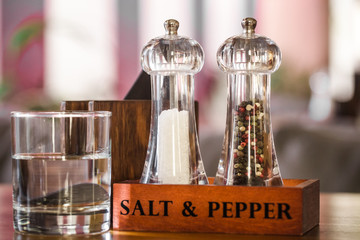 stand for salt and pepper in a cafe