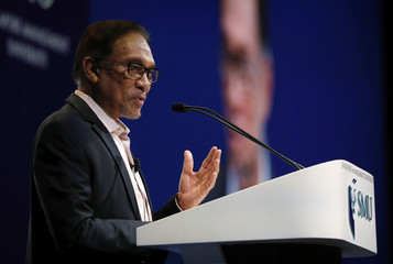 Malaysian politician Anwar Ibrahim speaks at the Ho Rih Hwa Leadership Lecture in Singapore