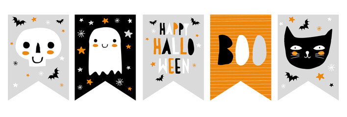 Funny Hand Drawn Halloween Vector Bunting. Infantile Illustration. White Skull and Ghost, Black Cat and Bats. Hand Written Happy Halloween and Boo. Starry Night. Gra, Orange, Black and White Design.
