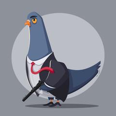 Pigeon a  killer. Thug life. Cartoon vector illustration