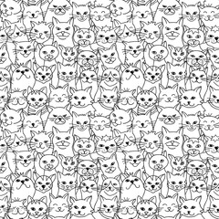 Seamless pattern of hand drawn cats