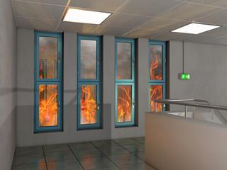 Flur innen mit Brandschutzfenstern durch die man Feuer sehen kann