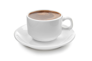 Photo sur Toile Chocolat Cup of hot chocolate on white background