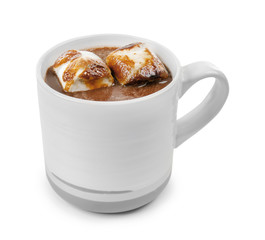 Canvas Prints Chocolate Cup of hot chocolate with marshmallows on white background