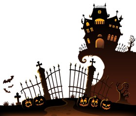 Printed roller blinds For Kids Halloween house silhouette theme 6