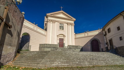 Church of the Capuchins of Albano Laziale illuminated by the sun timelapse hyperlapse in a summer day