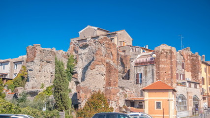 Terme di Caracalla in beautiful town of Albano Laziale timelapse hyperlapse, Italy