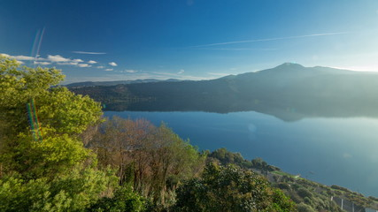 Panoramic view of Albano Lake coast at sunrise timelapse, Rome Province, Latium, central Italy