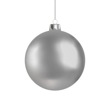 Christmas ball handing on string. Xmas vector bauble isolated on white background. New Year decorati