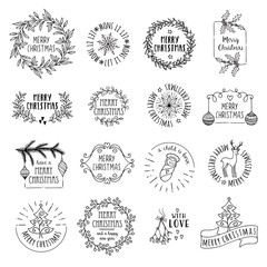 Little Christmas logos - hand drawn vector icons, emblems, text design