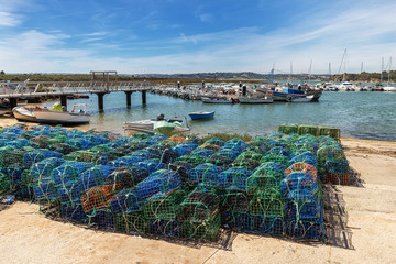 Fishing traps for fish and octopuses with views of Alvor. Portugal