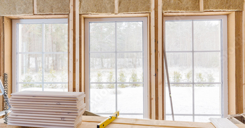 Thermally insulating eco-wood frame house with wood fiber plates and ...