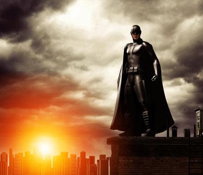 Dark Superhero on rooftop overlooking cityscape