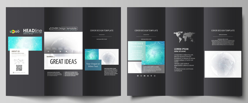 The black colored minimalistic vector illustration of the editable layout of two creative tri-fold brochure covers design templates. Chemistry pattern. Molecule structure. Medical, science background.