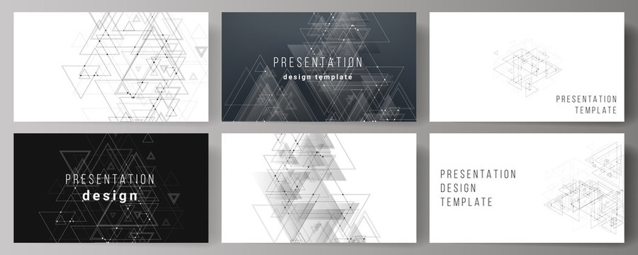 The minimalistic abstract editable vector layout of the presentation slides design business templates. Polygonal background with triangles, connecting dots and lines. Connection structure.