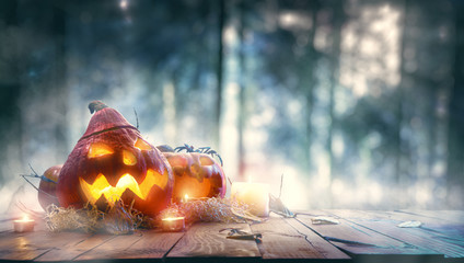 Pumpkins in spooky forest
