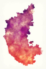 Karnataka federal state watercolor map of India in front of a white background