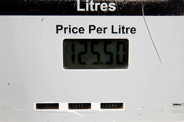 A close-up view of the price display on a pump is seen at a Shell petrol station in Nairobi, Kenya