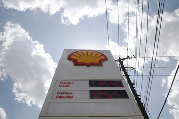 Fuel prices are displayed on a sign at a Shell petrol station in Nairobi, Kenya