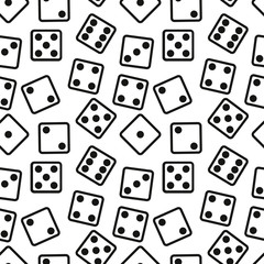 Gambling Dices Seamless Pattern on White Background. vector illustration.