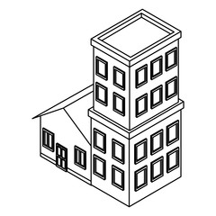 House and residence buildings isometric