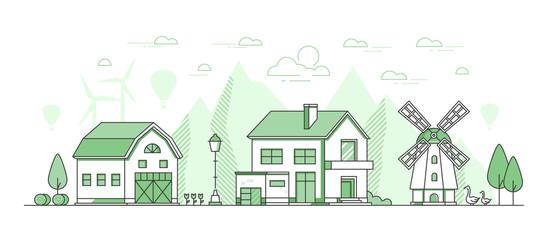 Eco farming - thin line design style vector illustration