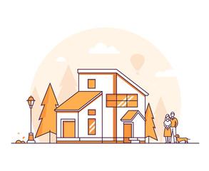 Fototapeta Cottage house - thin line design style vector illustration obraz