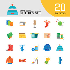Clothes icon set. Sweater, boots, sewing machine, gloves, hat. Garment concept. Can be used for topics like dressmaking, tailoring, clothing shop, online store
