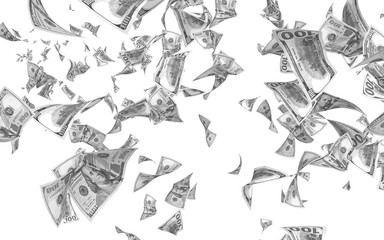 Flying dollars banknotes isolated on white background. Money is flying in the air. 100 US banknotes new sample. Black and white style. 3D illustration