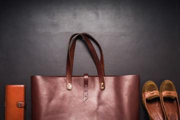 Elegant Leather Brown Bag Black Background