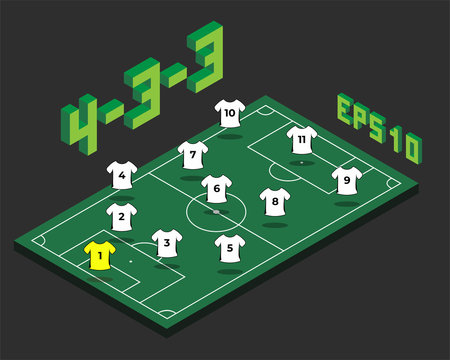 Football 4-3-3   formation with isometric field.