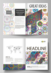 Business templates for bi fold brochure, magazine, flyer, report. Cover design template, abstract vector layout in A4 size. Bright color background in minimalist style made from colorful circles.