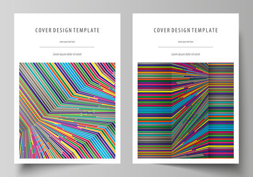 Business templates for brochure, magazine, flyer, booklet, report. Cover design template, abstract vector layout in A4 size. Bright color lines, colorful style, geometric shapes, minimalist background