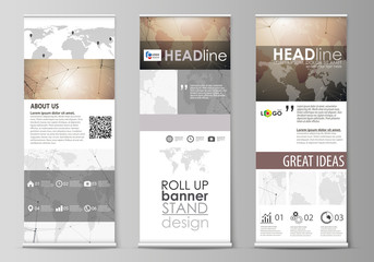 The minimalistic vector illustration of the editable layout of roll up banner stands, vertical flyers, flags design business templates. Global network connections, technology background with world map