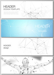 Minimalistic vector editable layout of headers, banner design templates in popular formats. Technology, science, medical concept. Molecule structure, connecting lines and dots. Futuristic background