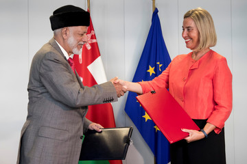 European Union Foreign Policy Chief Federica Mogherini and Omani Foreign Minister Yusuf bin Alawi bin Abdullah meet in Brussels