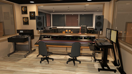 Music recording studio with sound mixer, instruments, speakers, and audio equipment, 3D rendering