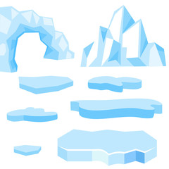 Set of cartoon vector blue floes and icebergs of different shape