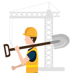 builder character with construction equipment