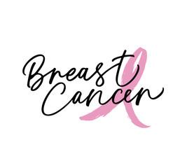 Breast Cancer awareness moth. Modern brush calligraphy.