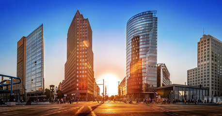 the famous potsdamer platz in berlin at sunset