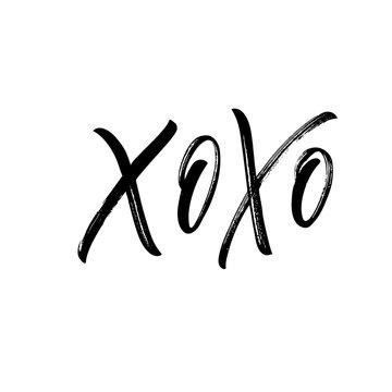 Xo xo card. Hand drawn brush style modern calligraphy. Vector illustration of handwritten lettering.