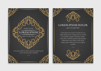 Gold and black vintage greeting card. Luxury vector ornament template. Great for invitation, flyer, menu, brochure, postcard, background, wallpaper, decoration, packaging or any desired idea