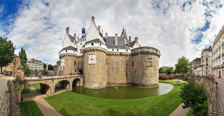 Beautiful panoramic cityscape view of The Château des ducs de Bretagne (Castle of the Dukes of Brittany) a large castle located in the city of Nantes, France Wall mural