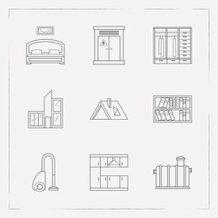Set of interior design icons line style symbols with electricity, bookshelf, septic tank and other icons for your web mobile app logo design.