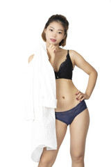Chinese woman posing in panties and bra on white background