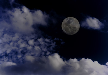 Attractive photo of super moon background night sky with cloudy and bright full moon.  The moon were NOT furnished by NASA.