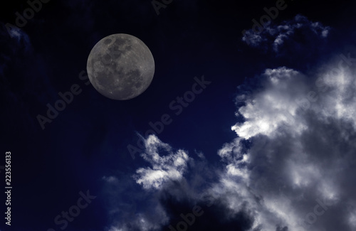 Blue Sky Full Moon But Not Blue Moon >> Attractive Photo Of Super Moon Background Night Sky With Cloudy And