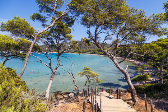 Idyllic beach in Porquerolles, the island in Southern France.